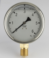 "Manometer Ø 63 mm ned, 1/4"", 0-4 barrf-hus m/glycerin, m/dæm"