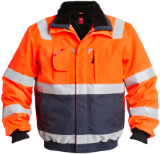 FE Engel pilotjakke 1172, EN 20471 orange/marine, str. M