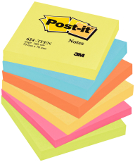 Post-it Notes, neon rainbow, 76 x 76 mm, 6 stk.